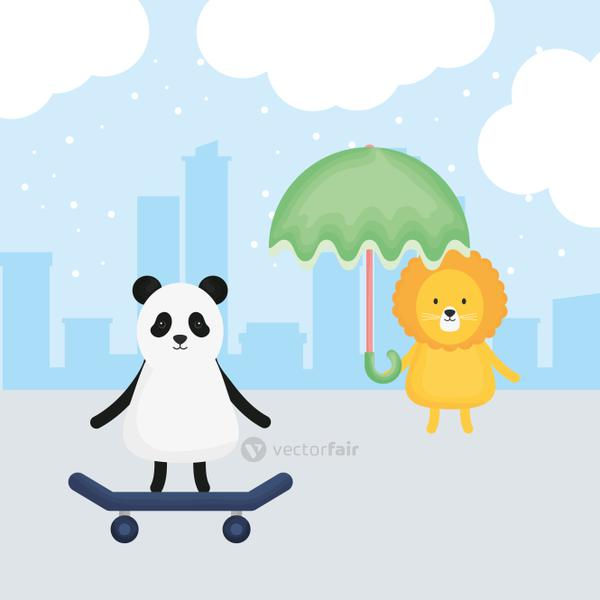 cute lion with umbrella and panda in skateboard