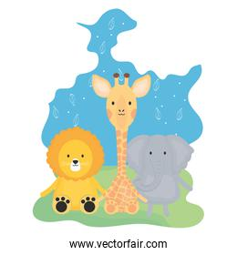 cute group animals childish characters