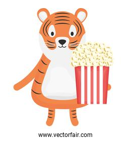 cute tiger with pop corn childish character