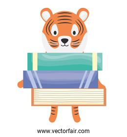 cute tiger with books childish character
