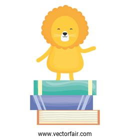 cute lion with pile books childish character