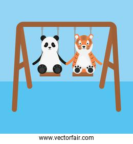 cute tiger and panda in swing childish characters