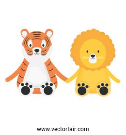 cute tiger and lion childish isolated characters