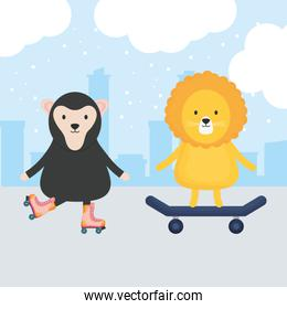 cute skater lion with monkey in skates childish characters