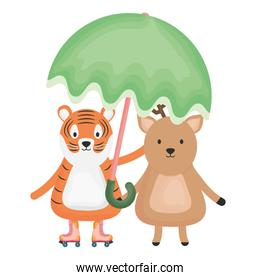 cute tiger and reindeer with umbrella childish characters
