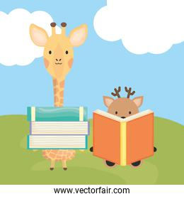 cute giraffe and reindeer with books childish characters