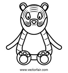 cute tiger childish character line style icon