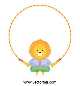 cute lion jumping rope vector illustration