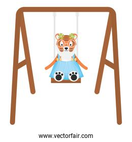 cute female tiger in swing character