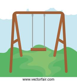 swing wooden in the park