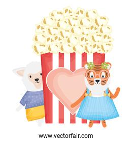 cute female tiger and sheep with pop corn
