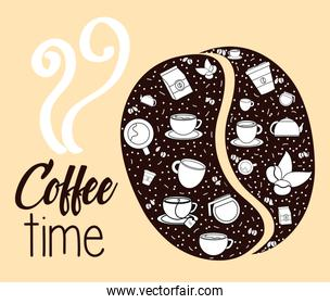 coffee grain with set icons pattern