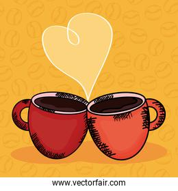 coffee cups with heart love