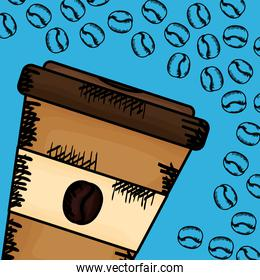 coffee cup plastic container vector illustration
