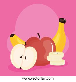 fresh banana and apple tropical fruits pink background