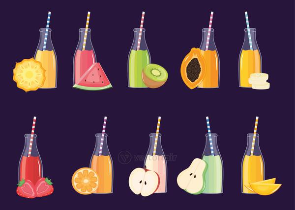 fresh and tropical juices fruits in botttles with straws