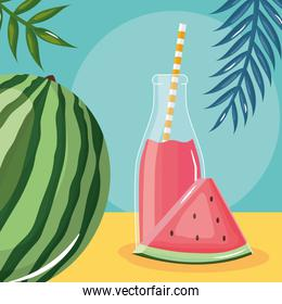 fresh watermelon juice fruit in botttle with straw in leafs palms