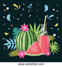 fresh watermelon juice fruit in botttle with straw in floral decoration