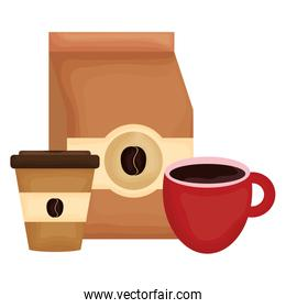 coffee bag product with cup and plastic container