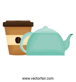 kitchen teapot with coffee in container plastic