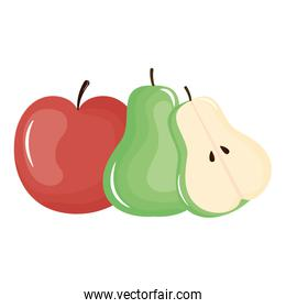 fresh pear and apple fruits