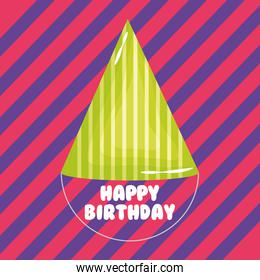 happy birthday card with party hat and stripes