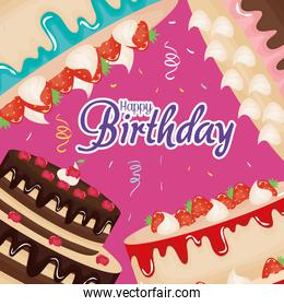 happy birthday card with sweet cakes frame