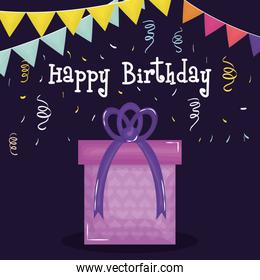 happy birthday card with gift and confetti