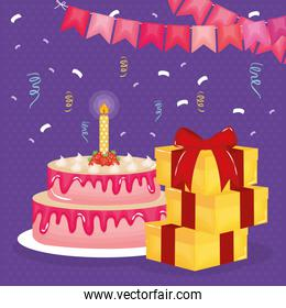happy birthday card with gifts and cake