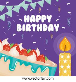 happy birthday card , cake with strawberry and candle