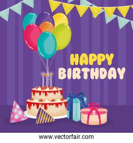 happy birthday card with cake , gifts and balloons helium decoration