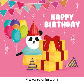 happy birthday card with panda bear and gifts