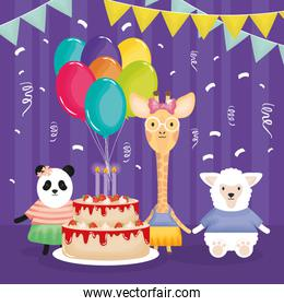 happy birthday card with animals characters