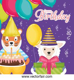 happy birthday card with rabbit and tiger