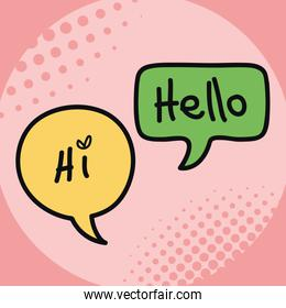 two speech bubbles drawn with hi and hello message