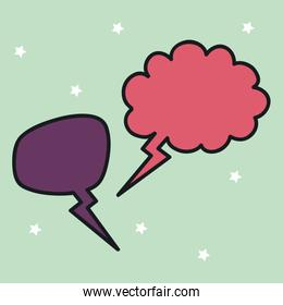 two speech bubbles drawn over green