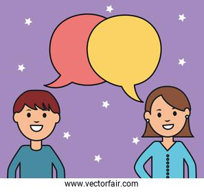 young couple with speech bubbles