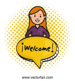 woman and speech bubble with welcome message