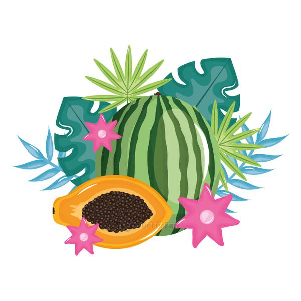 fresh watermelon and papaya with floral decoration