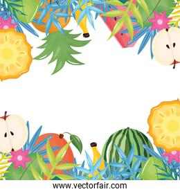 fresh tropical fruits with floral decoration