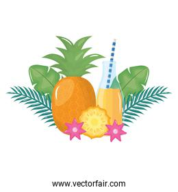 fresh pineapple juice fruit in botttle with straw in floral decoration