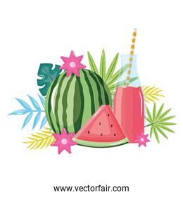 fresh watermelon juice fruit in botttle with straw in floral decoration over white