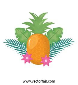 fresh pineapple fruit with floral decoration