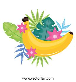 fresh banana with floral decoration