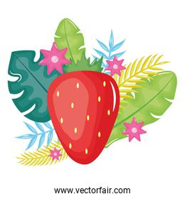 fresh strawberry fruit with floral decoration