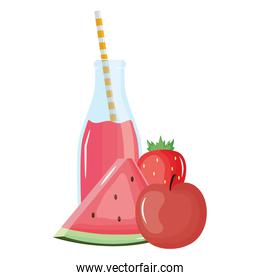 fresh watermelon and apple juice fruits in botttle with straw