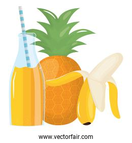fresh pineapple and banana juice fruits in botttle with straw