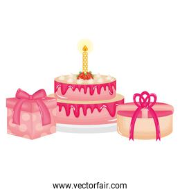 isolated sweet cake with candle and gifts