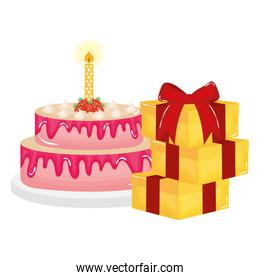 delicious sweet cake with candle and gifts