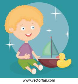 little boy playing with sailboat and duck